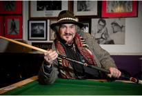 Terry English with the pool cue Lemmy gave him